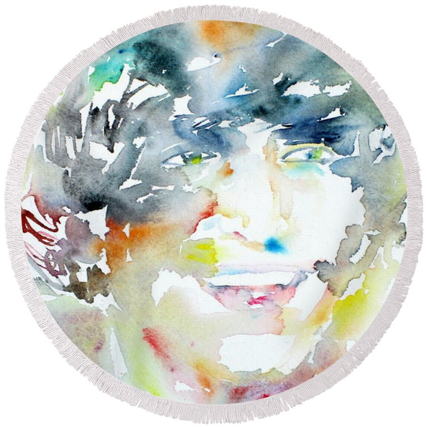 The Round Beach Towel featuring the painting John Lennon Portrait.3 by Fabrizio Cassetta