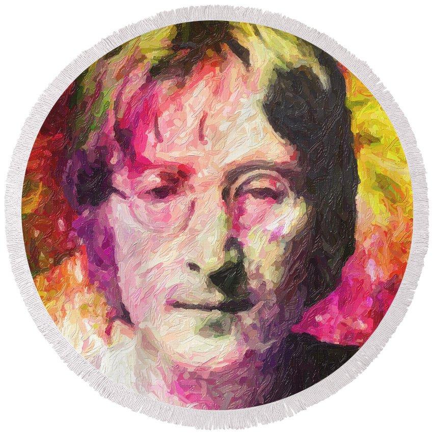John Lennon Round Beach Towel featuring the painting John Lennon by Zapista OU