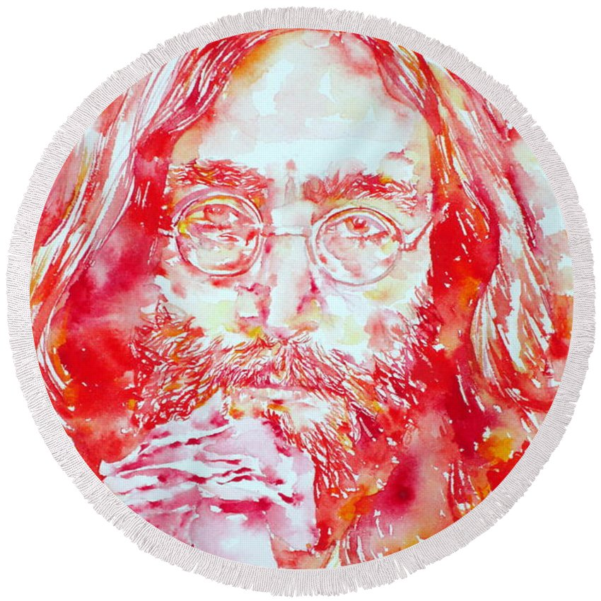 The Round Beach Towel featuring the painting John Lennon With Rose by Fabrizio Cassetta