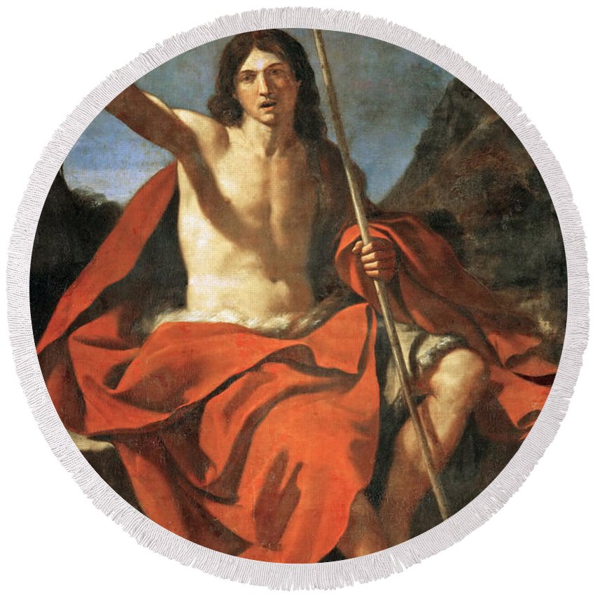 Guercino Round Beach Towel featuring the painting John The Baptist by Guercino