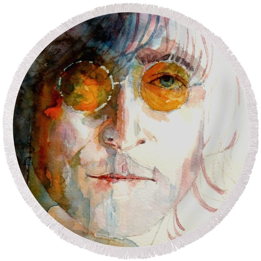 John Lennon Round Beach Towel featuring the painting John Winston Lennon by Paul Lovering