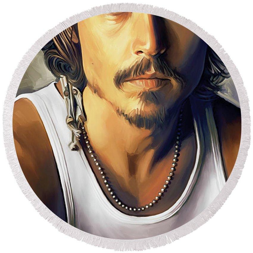Johnny Depp Round Beach Towels