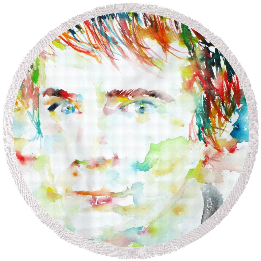 Johnny Rotten Round Beach Towel featuring the painting Johnny Rotten - Watercolor Portrait by Fabrizio Cassetta