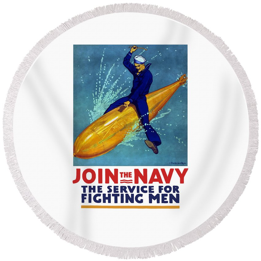 Navy Round Beach Towel featuring the painting Join The Navy The Service For Fighting Men by War Is Hell Store