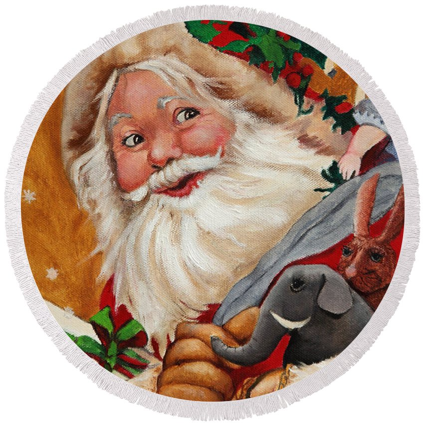 Seasonal Art Round Beach Towel featuring the painting Jolly Santa by Portraits By NC