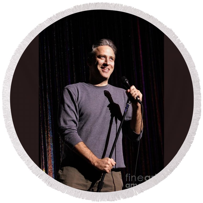 Performing Round Beach Towel featuring the photograph Jon Stewart by Concert Photos
