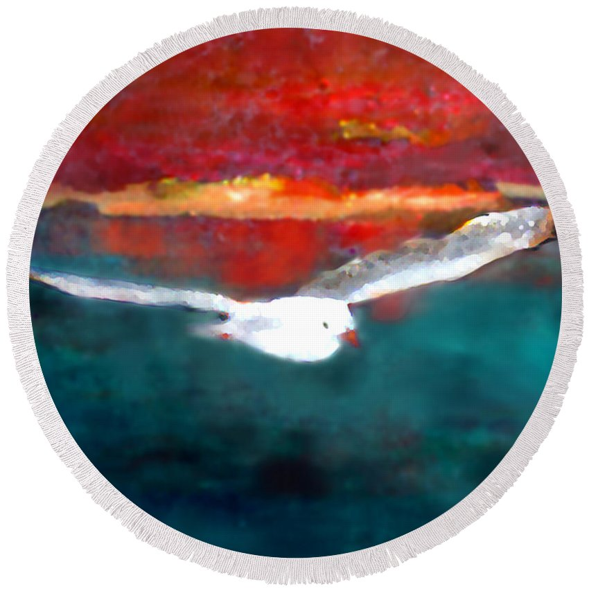 Jonathan Round Beach Towel featuring the painting Jonathan Two by Marcello Cicchini