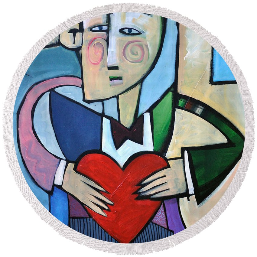 Heart Round Beach Towel featuring the painting Joseph Came A Courtin by Tim Nyberg