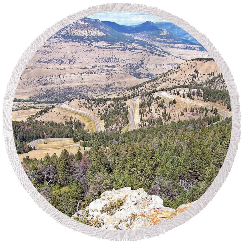 Wyoming Round Beach Towel featuring the photograph Joseph's Ladder by Christian Mattison