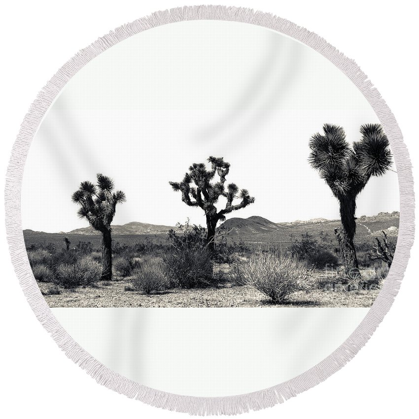Lovejoy Round Beach Towel featuring the photograph Joshua Tree Dancers by Lovejoy Creations