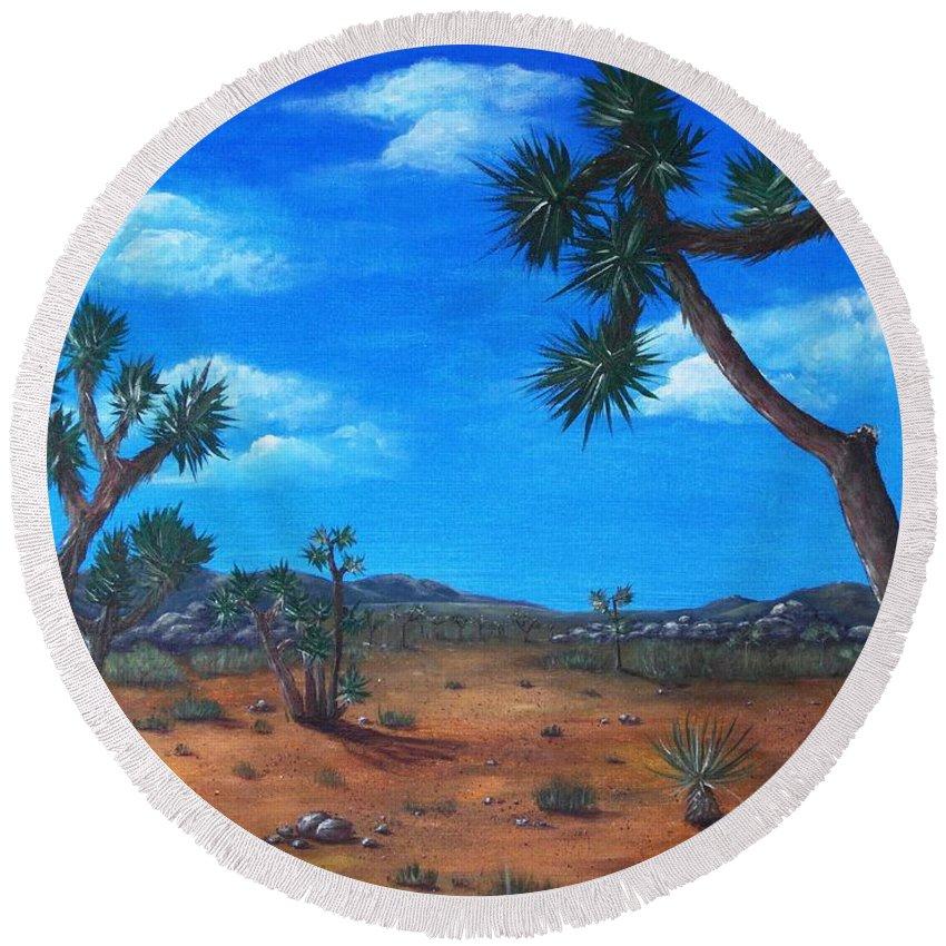 Malakhova Round Beach Towel featuring the painting Joshua Tree Desert by Anastasiya Malakhova