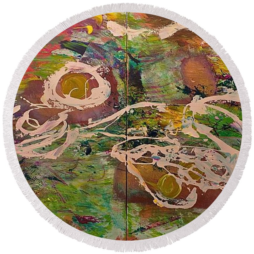 Landscape Round Beach Towel featuring the painting Journey Forth by Allan P Friedlander