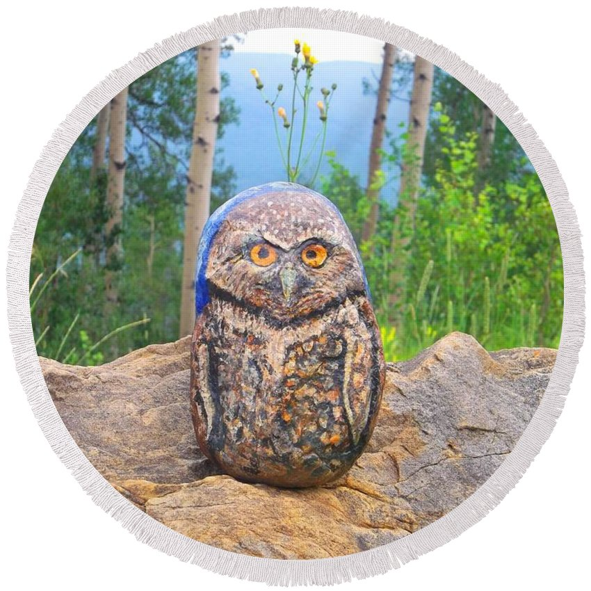 Stone Owl Art Round Beach Towel featuring the painting Journey Of Burrowing Owl by Abelone Petersen
