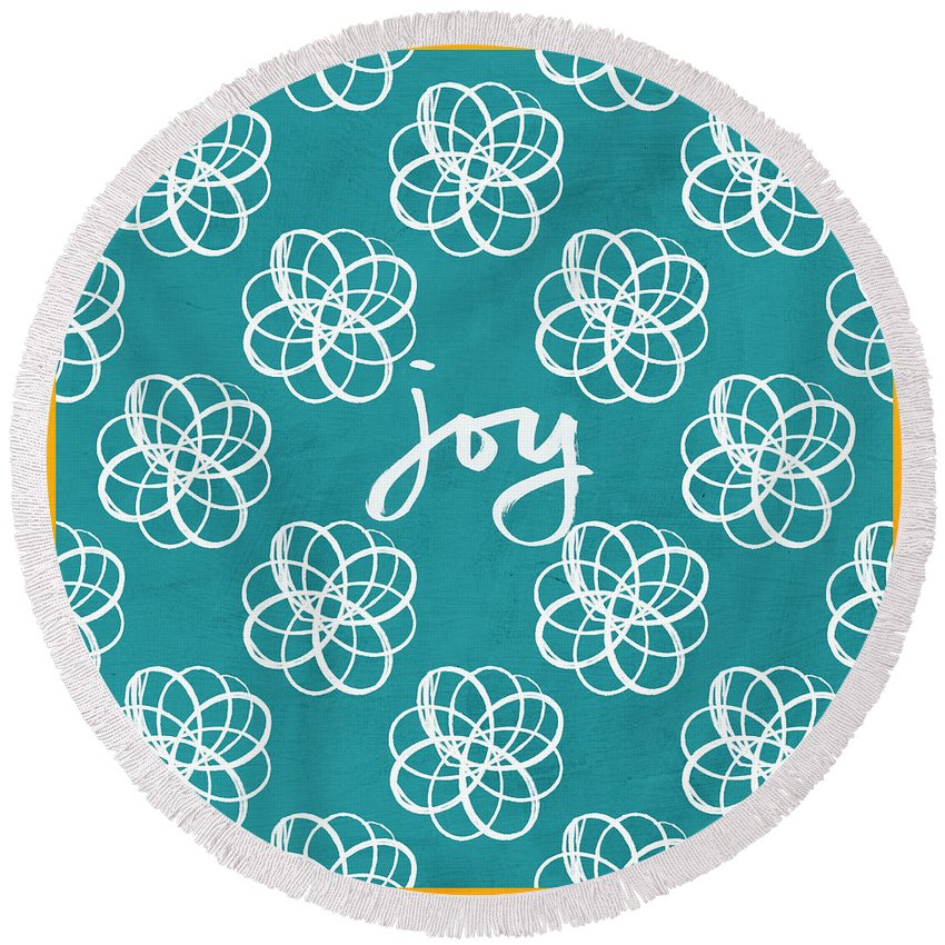 Boho Round Beach Towel featuring the mixed media Joy Boho Floral Print by Linda Woods