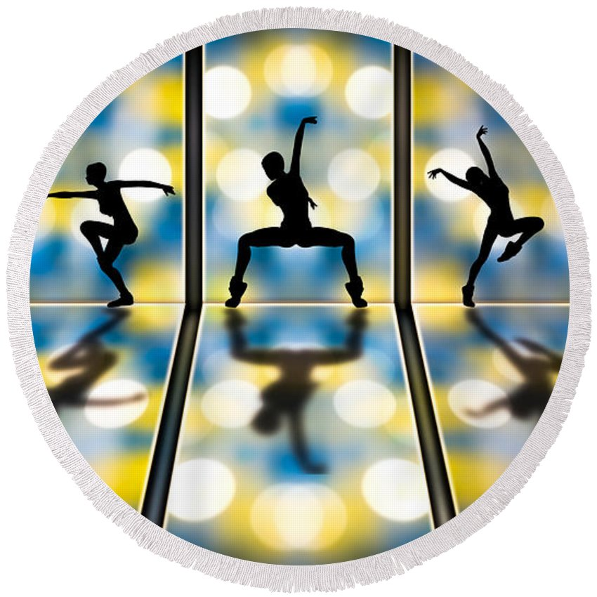 Dance Round Beach Towel featuring the digital art Joy Of Movement by Bob Orsillo