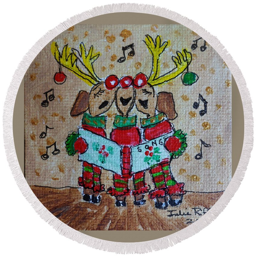 Christmas Round Beach Towel featuring the painting Joy To The World by Julie Brugh Riffey