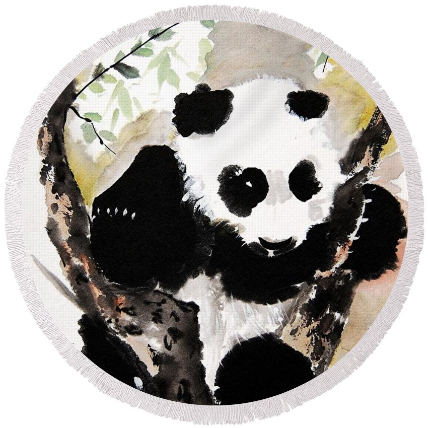Chinese Brush Painting Round Beach Towel featuring the painting Joyful Innocence by Bill Searle