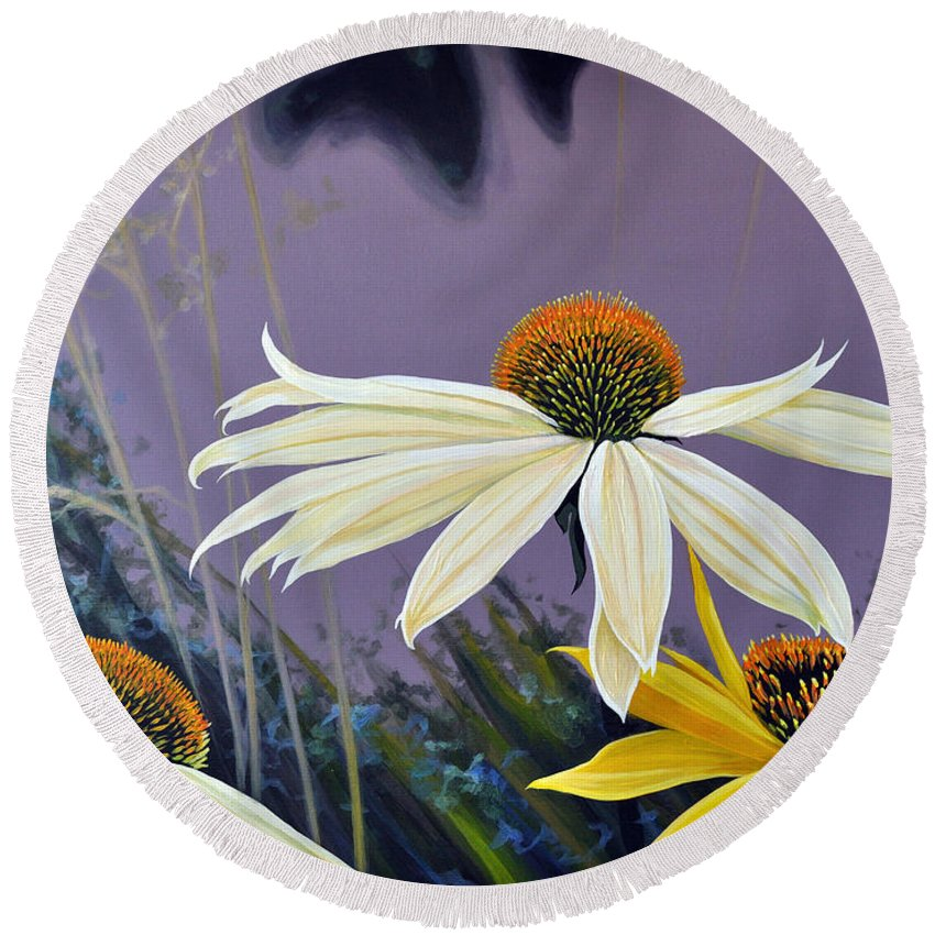 Botanical Round Beach Towel featuring the painting Jubilant by Hunter Jay