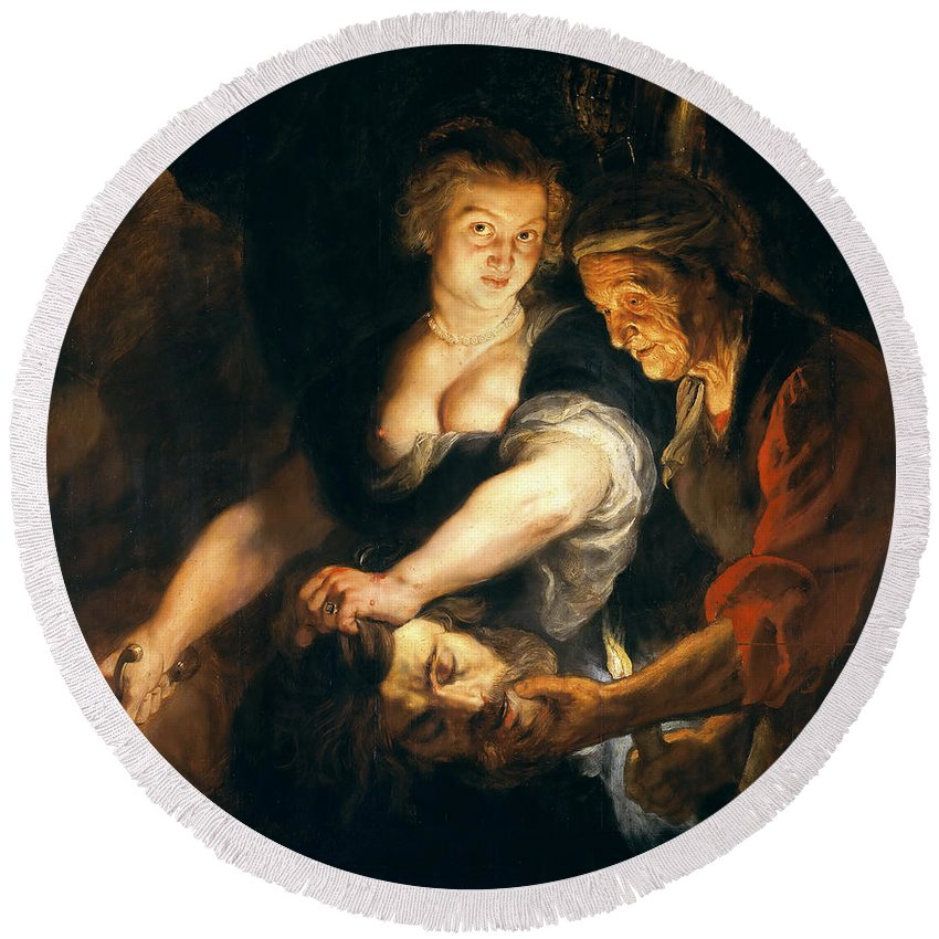 Peter Paul Rubens Round Beach Towel featuring the painting Judith With The Head Of Holofernes by Peter Paul Rubens