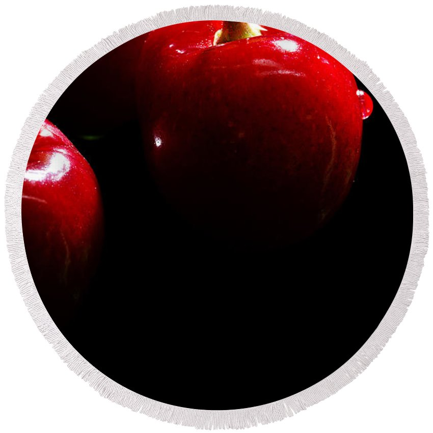 Black Round Beach Towel featuring the photograph Juicy Cherries by Jan Brons