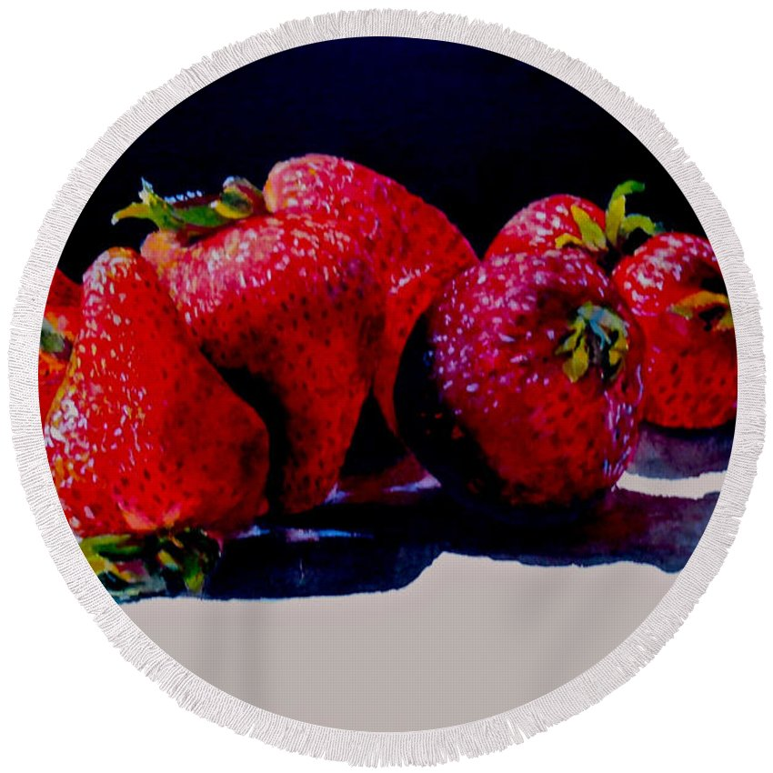 Berries Round Beach Towel featuring the painting Juicy Strawberries by Sher Nasser
