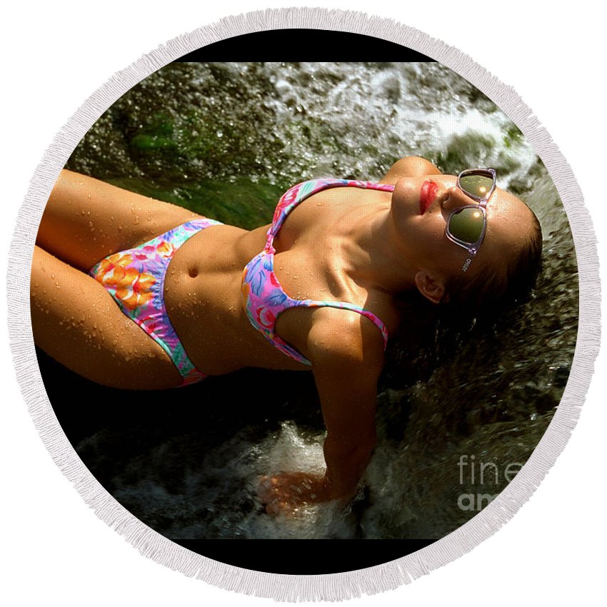 Model Round Beach Towel featuring the photograph Julie Lay Waterfall by Gary Gingrich Galleries