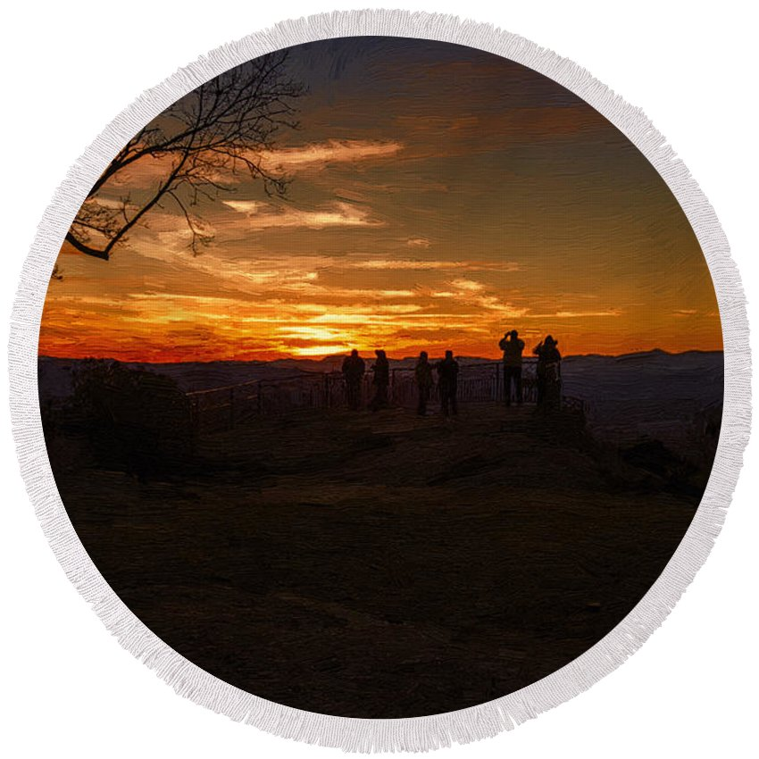 Sunset Round Beach Towel featuring the painting Jump Off Rock Sunset Silhouettes by John Haldane