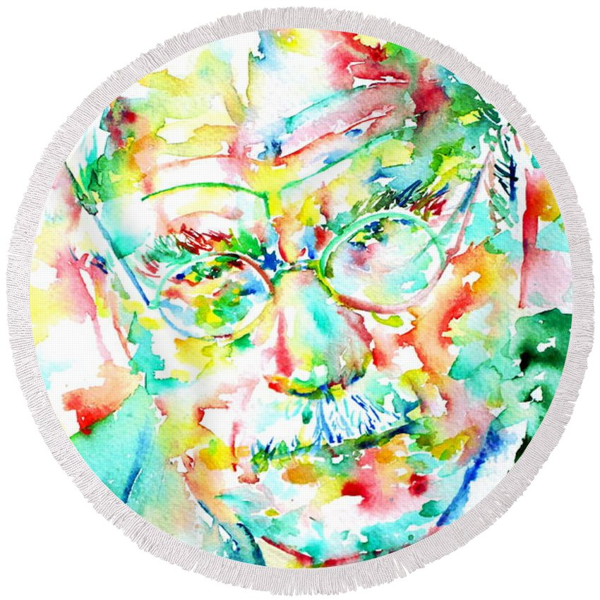 Gustav Round Beach Towel featuring the painting Jung - Watercolor Portrait.2 by Fabrizio Cassetta