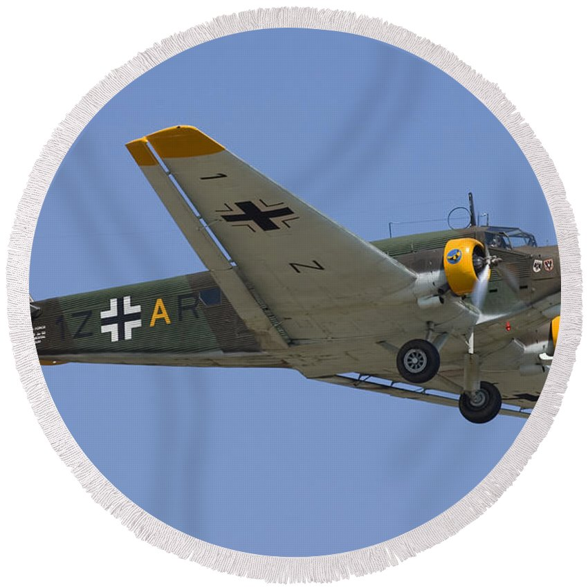 3scape Round Beach Towel featuring the photograph Junkers Ju-52 by Adam Romanowicz
