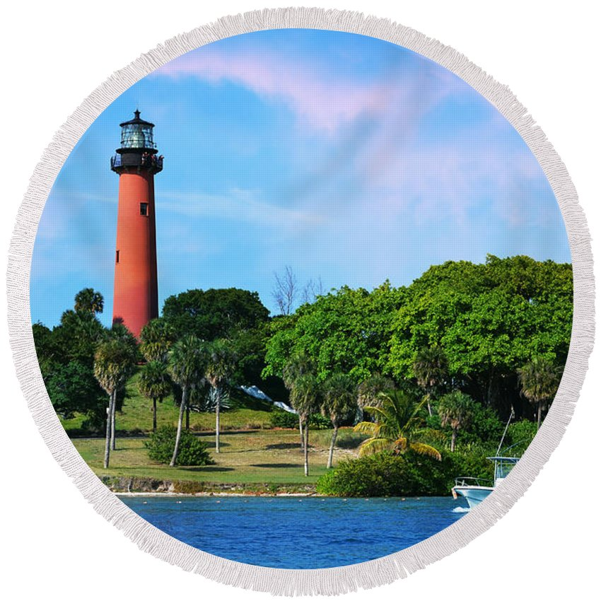 Laura Fasulo Round Beach Towel featuring the photograph Jupiter Lighthouse by Laura Fasulo