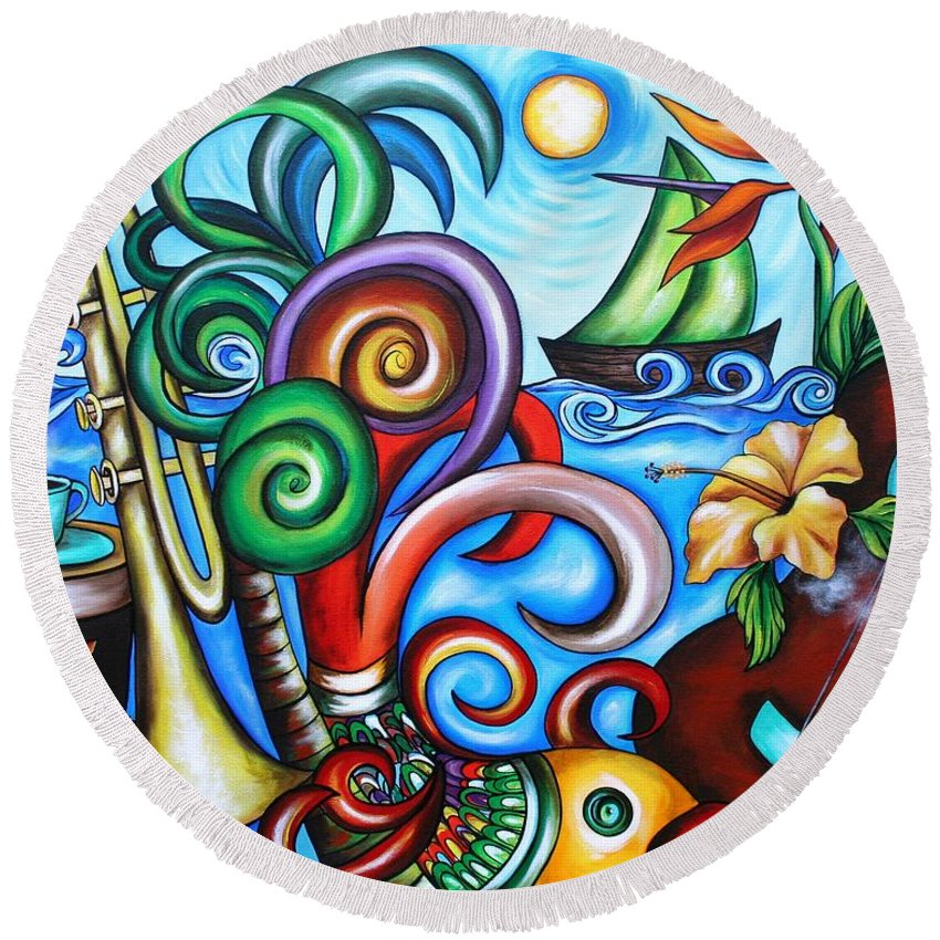 Cuba Round Beach Towel featuring the painting Just A Day In Paradise by Annie Maxwell
