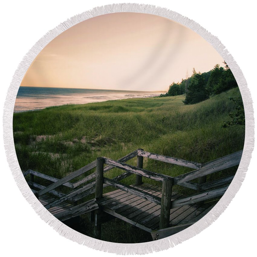 Sand Round Beach Towel featuring the photograph Just A Few More Steps To The Lake by Thomas Woolworth