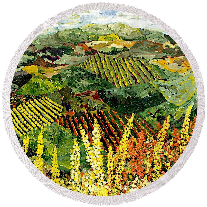 Landscape Round Beach Towel featuring the painting Just A Little Valley by Allan P Friedlander