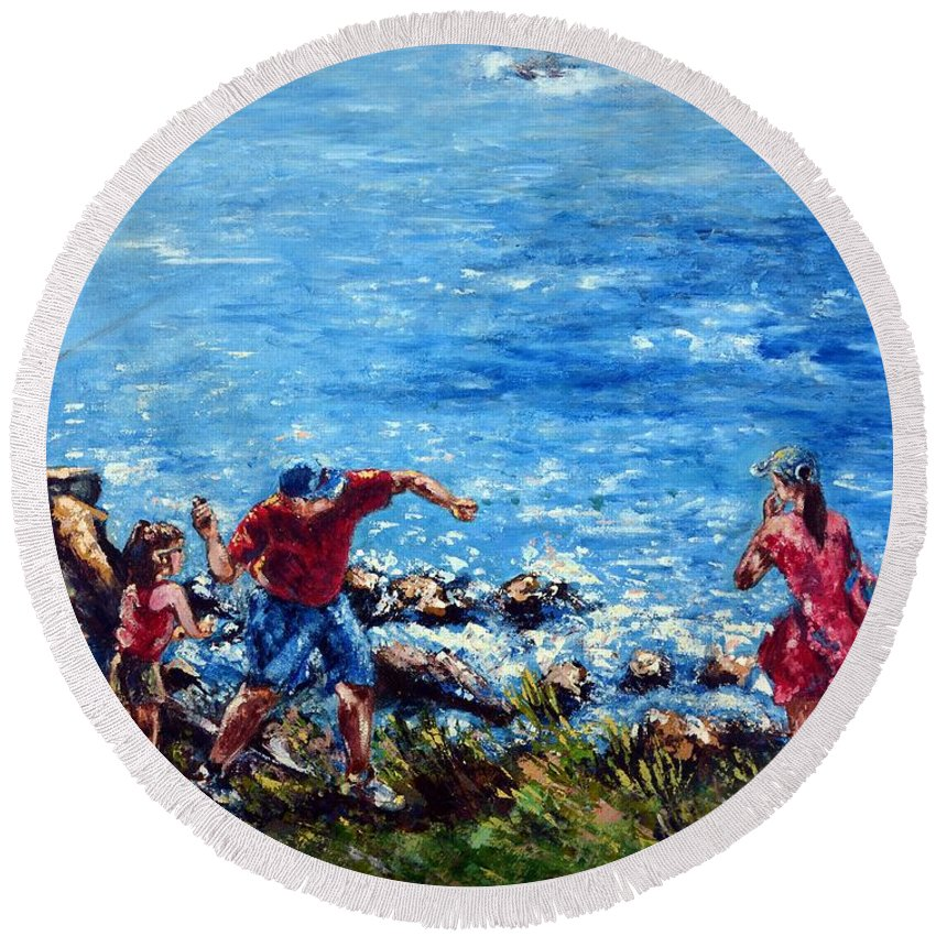 Ocean Round Beach Towel featuring the painting Just A Pebble In The Water by Harsh Malik