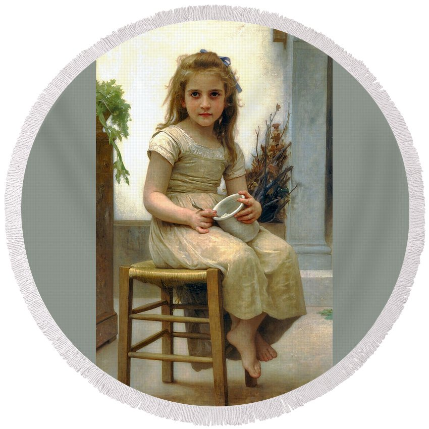 Just A Taste Round Beach Towel featuring the digital art Just A Taste by William Bouguereau