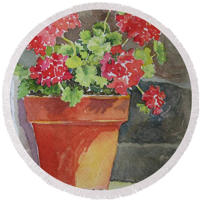 Claypots Round Beach Towel featuring the painting Just Basking In The Sun by Mary Ellen Mueller Legault