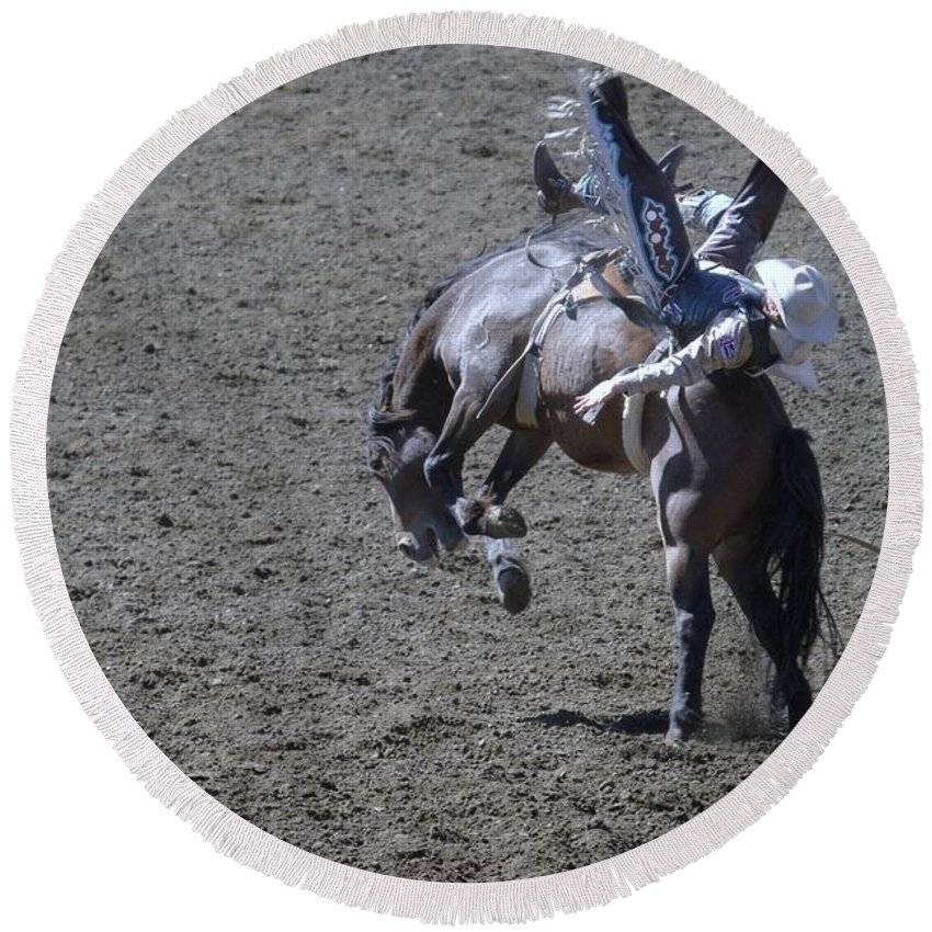 Rodeo. Action Round Beach Towel featuring the photograph Just One More Second by Jeff Swan