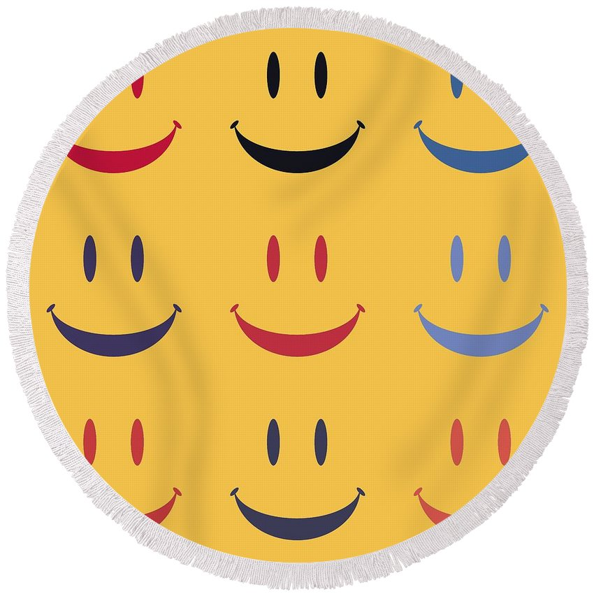 Smiley Face Round Beach Towel featuring the digital art Just Smile by Dan Sproul