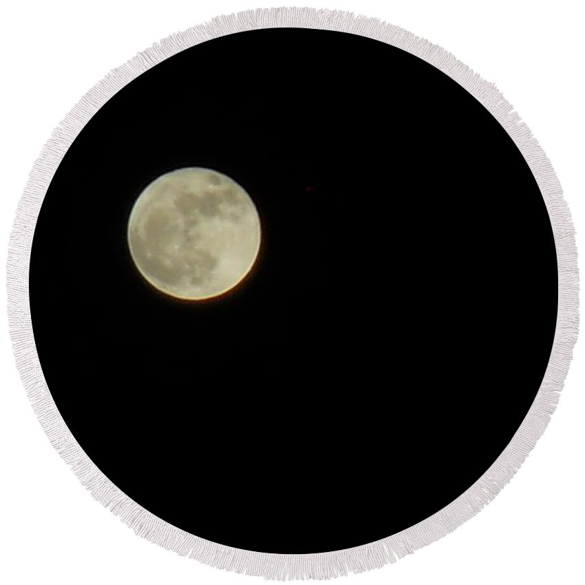 Moon Round Beach Towel featuring the photograph Just The Moon by Coleen Harty