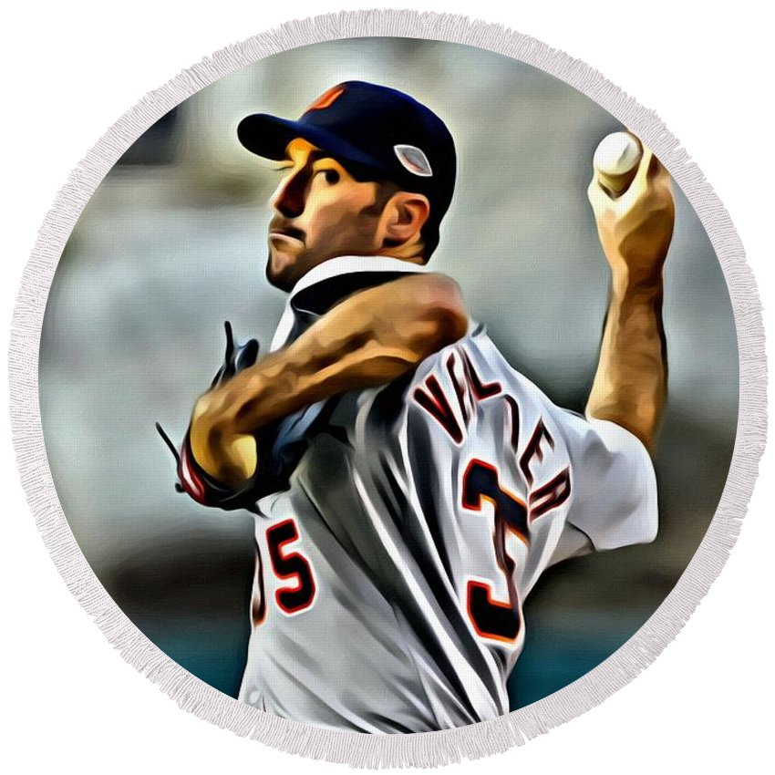 Mlb Round Beach Towel featuring the painting Justin Verlander Painting by Florian Rodarte