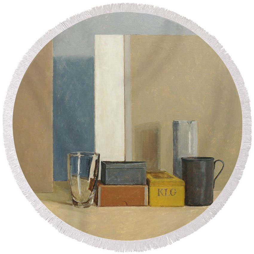 Still Life Round Beach Towel featuring the painting K L G by William Packer