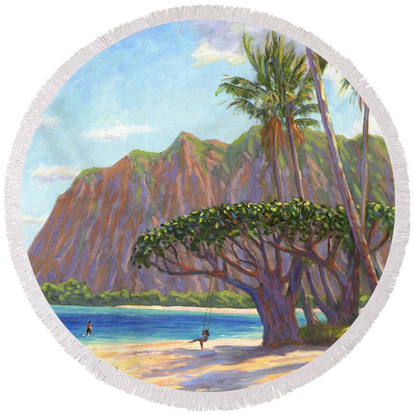Kaaawa Round Beach Towel featuring the painting Kaaawa Beach - Oahu by Steve Simon