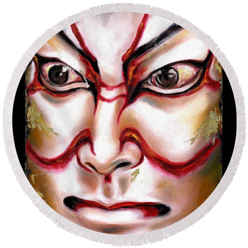 Kabuki Round Beach Towel featuring the painting Kabuki One by Hiroko Sakai