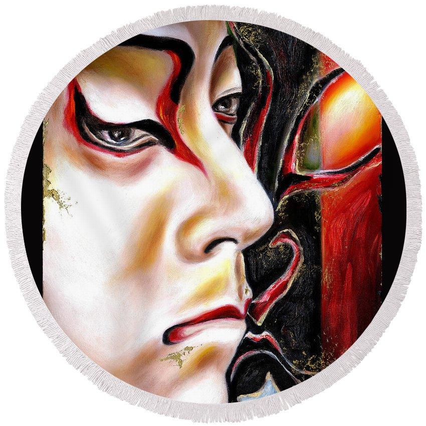 Kabuki Round Beach Towel featuring the painting Kabuki Three by Hiroko Sakai