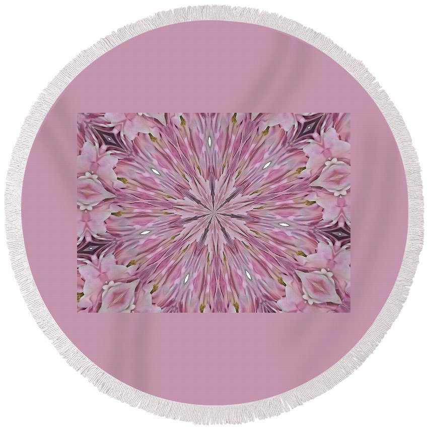 Kaleidoscope Round Beach Towel featuring the photograph Kaleidoscope 10 by Lena Photo Art