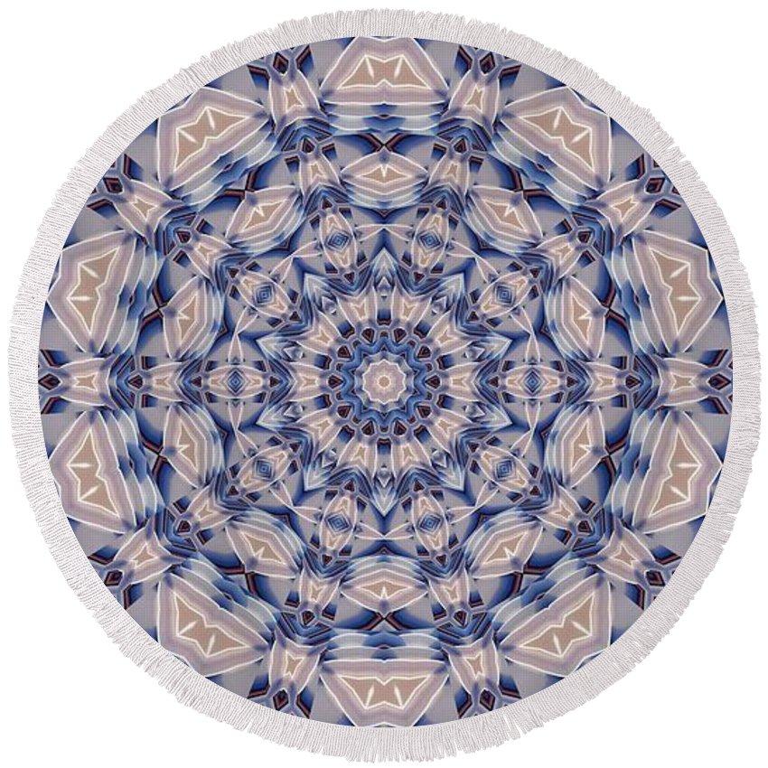 Kaleidoscope Round Beach Towel featuring the digital art Kaleidoscope 19 by Ron Bissett