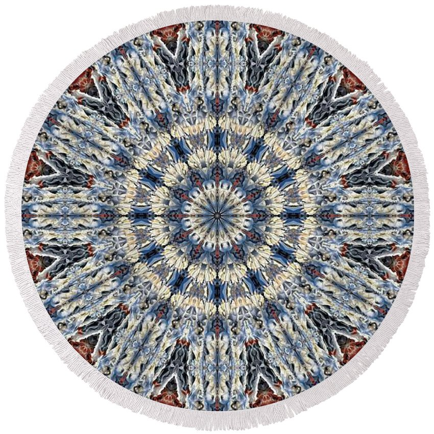 Kaleidoscope Round Beach Towel featuring the digital art Kaleidoscope 29 by Ron Bissett
