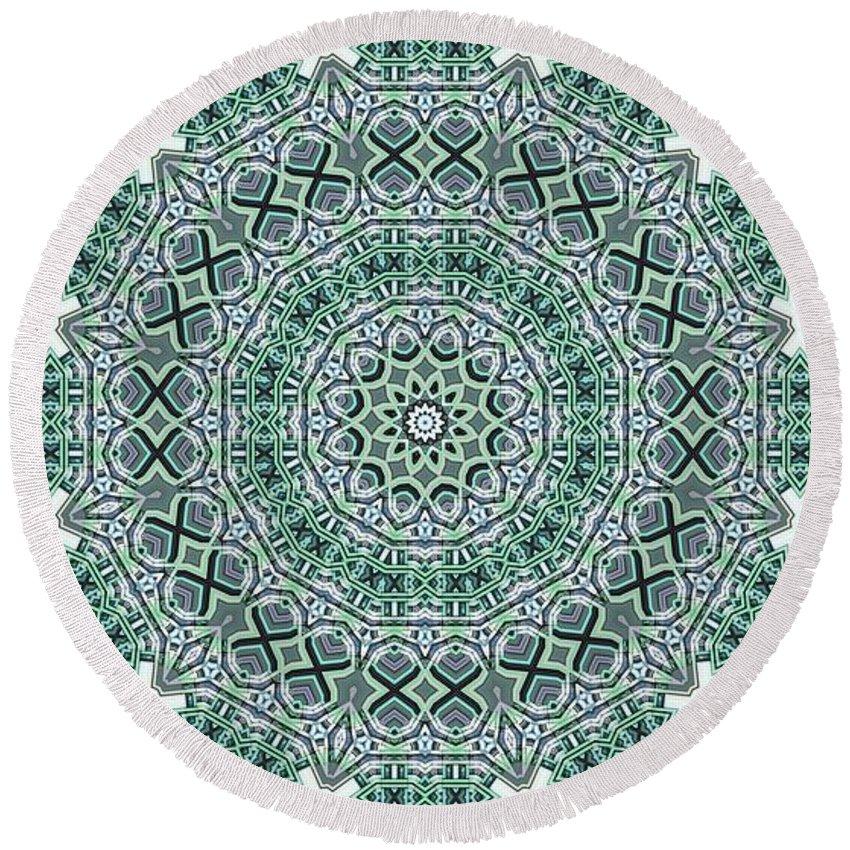 Kaleidoscope Round Beach Towel featuring the digital art Kaleidoscope 31 by Ron Bissett