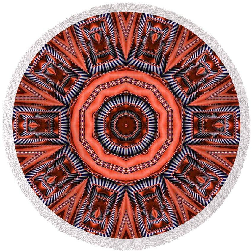Kaleidoscope Round Beach Towel featuring the digital art Kaleidoscope 40 by Ron Bissett