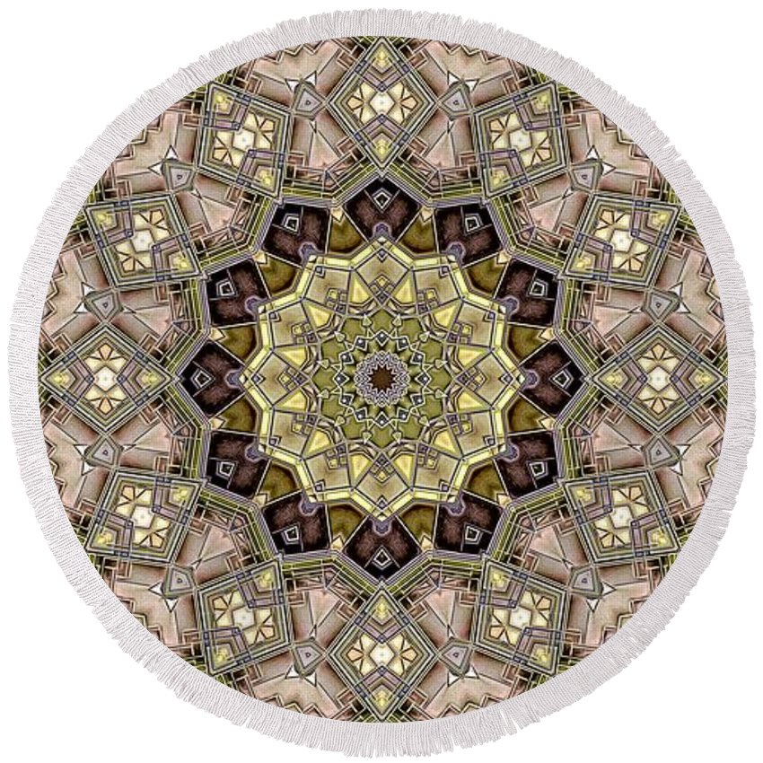 Kaleidoscope Round Beach Towel featuring the digital art Kaleidoscope 50 by Ron Bissett